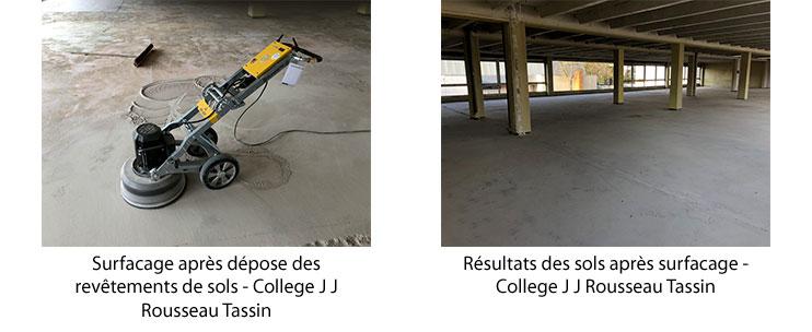 Surfacage après dépose des revêtements de sols - College J J Rousseau Tassin
